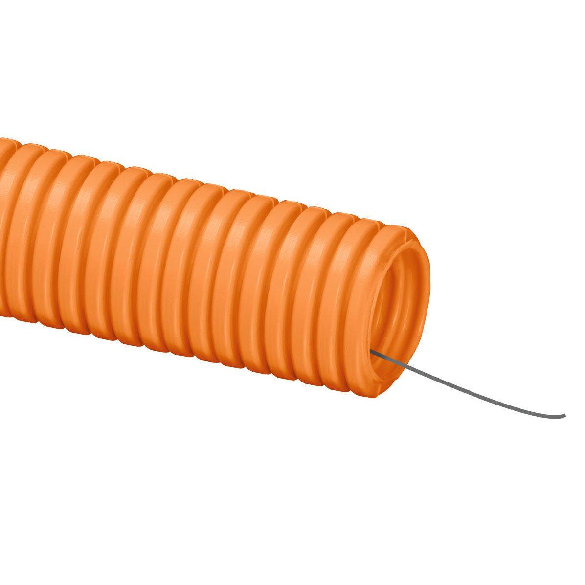 Труба гофрированная ПНД 16 мм  с протяжкой тяжелая оранжевая (100 м)